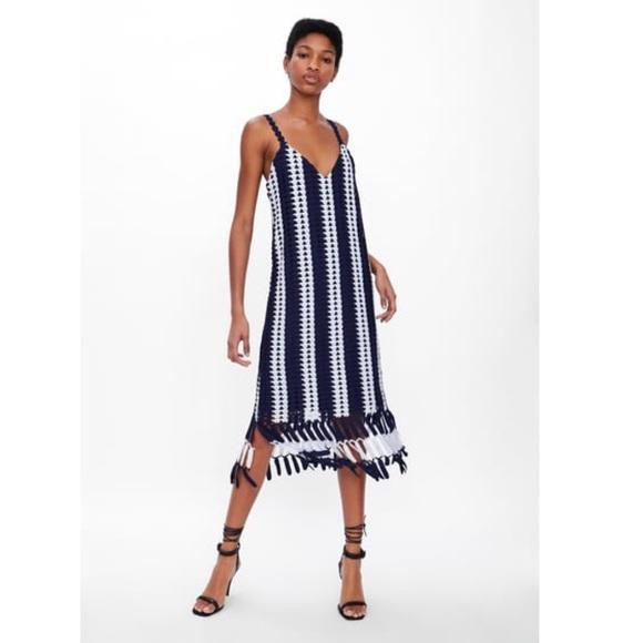 Zara Dresses & Skirts - AMALFI DREAM DRESS! Zara Striped Crochet Dress